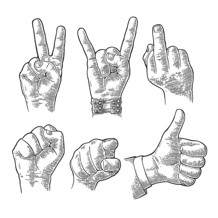 Male and female Hand sign. Fist, Like, Middle finger up, pointing finger at viewer from front, fig, Rock and Roll. Vector vintage engraved illustration isolated white background.