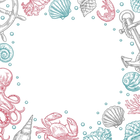 Template for greeting card and poster. Sea shell, coral, crab, octopus and shrimp. Vector color engraving vintage illustrations. Isolated on white background.