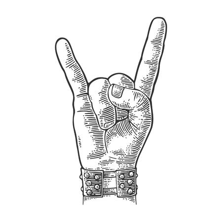 Rock and Roll signo de la mano. Mano con brazalete de metal claveteando el gesto de los cuernos del diablo. Vector negro vintage grabado ilustración. Aislado en el fondo blanco. Foto de archivo - 71630948
