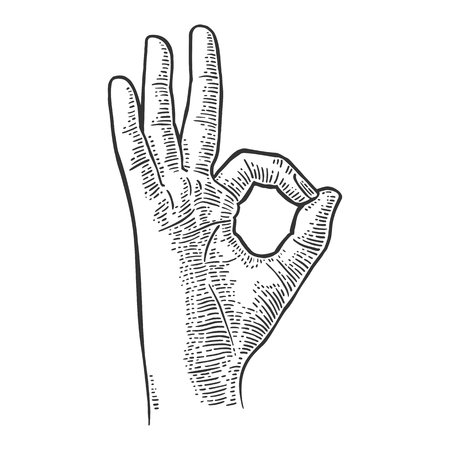 Hand showing symbol okay. Vector black vintage engraved illustration isolated on white background. Sign for web, poster, info graphic