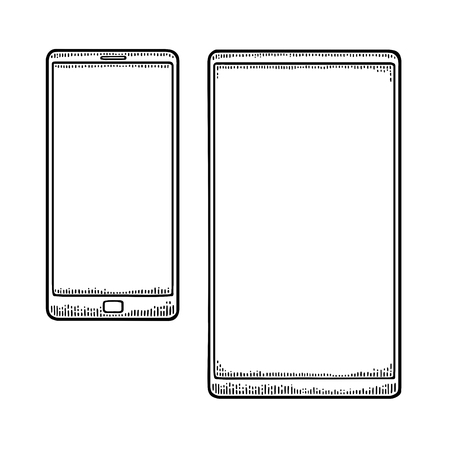 Two modern mobile phone. Vintage drawn black vector engraving illustration for info graphic, poster, web. Isolated on white background Ilustração