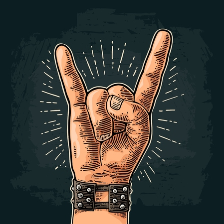 Rock and Roll sign. Hand with metal spiked bracelet giving the devil horns gesture. Vector color vintage engraved illustration. Isolated on dark background. For festival poster  イラスト・ベクター素材