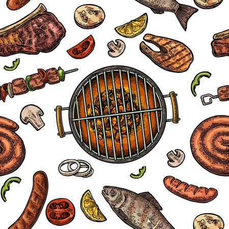 Pattern barbecue grill. Top view with charcoal, mushroom, tomato, pepper, sausage, lemon, kebab, fish and beef steak. Vintage color vector engraving illustration. Isolated
