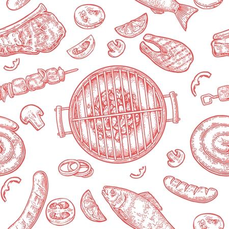 パターン バーベキュー グリル。炭、きのこ、トマト、ピーマン、ソーセージ、レモン、ケバブ、魚や牛肉のステーキの平面図です。ビンテージ赤ベ  イラスト・ベクター素材