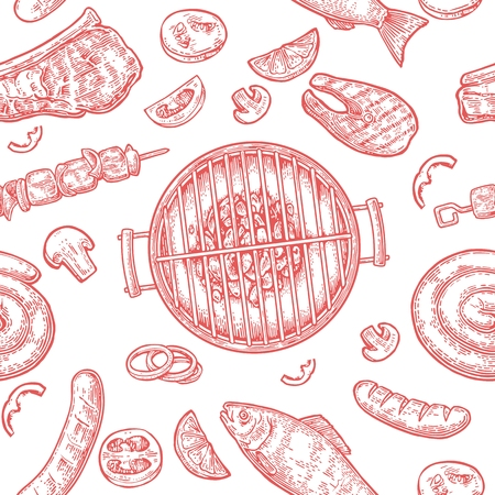 Pattern barbecue grill. Top view with charcoal, mushroom, tomato, pepper, sausage, lemon, kebab, fish and beef steak. Vintage red vector engraving illustration. Isolated Illustration