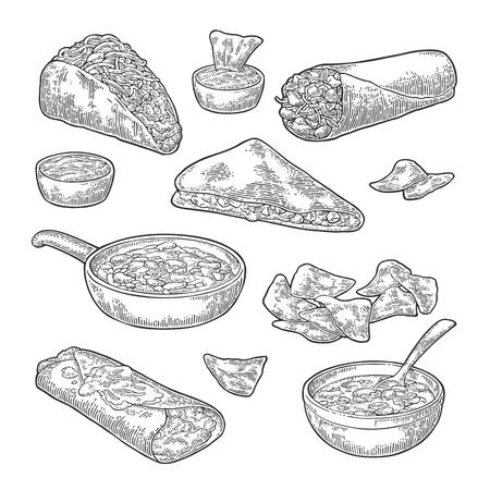 enchilada: Mexican traditional food set with Guacamole, Quesadilla, Enchilada, Avocado, Burrito, Tacos, Nachos. Illustration