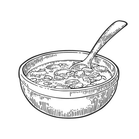 Chili con carne in bowl with spoon - mexican traditional food. Vector vintage black engraved illustration for menu, poster, web. Isolated on white background Illustration