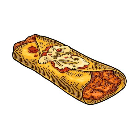 enchilada: Enchilada - mexican traditional food. Vector color vintage engraved illustration for menu, poster, web. Isolated on white background Illustration