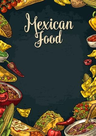 Mexican traditional food restaurant menu template with Guacamole, Quesadilla, Enchilada, Burrito, Tacos, Nachos, Chili con carne and ingredient. Illustration