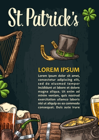 Vertical poster for Saint Patrick s Day. Top gentleman hat, pot of gold coins, smoking pipe, beer glass, lyre, horseshoe, clover and barrel.