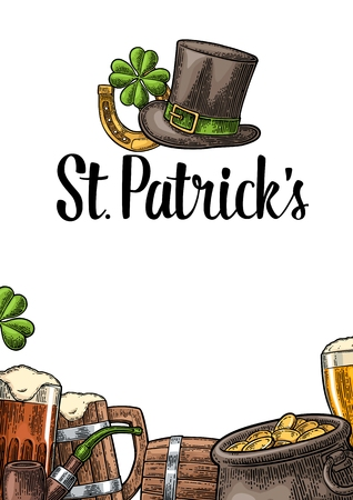saint: Vertical poster for Saint Patrick s Day. Top gentleman hat, pot of gold coins, pipe, beer glass, lyre, horseshoe, clover and barrel.