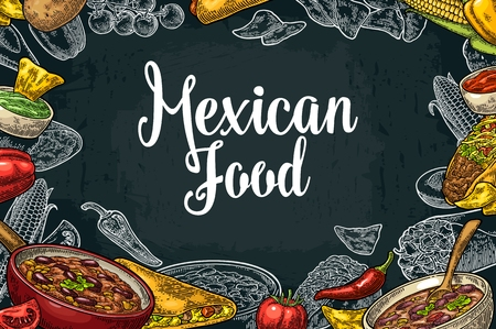 Mexican traditional food restaurant menu template with Guacamole, Quesadilla, Enchilada, Burrito, Tacos, Nachos, Chili con carne and ingredient. Ilustração