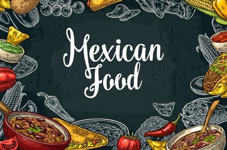 Mexican traditional food restaurant menu template with Guacamole, Quesadilla, Enchilada, Burrito, Tacos, Nachos, Chili con carne and ingredient. Vectores