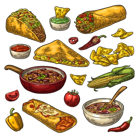 Mexican traditional food set with Guacamole, Quesadilla, Enchilada, Burrito, Tacos, Nachos, chili con carne with ingredient. Vector vintage color engraving illustration isolated on white background.