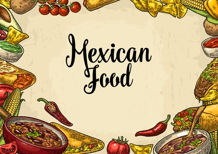 Mexican traditional food restaurant menu template with ingredient Illustration