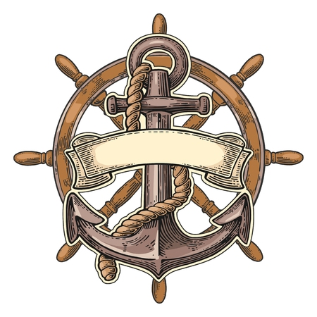 Anchor and wheel with ribbon isolated on beige background.