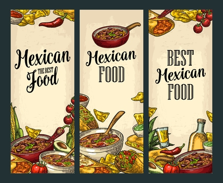 Vertical posters with Mexican traditional food and ingredient. Guacamole, Quesadilla, Enchilada, Burrito, Tacos, Nachos, Chili con carne. Vector vintage engraved illustration on beige background