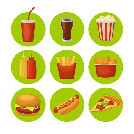 セットのファーストフードのアイコン。コーラ、チップ、ブリトー、ハンバーガー、ピザ、鶏の足、ホットドッグ、紙箱、カートン バケット ポップ