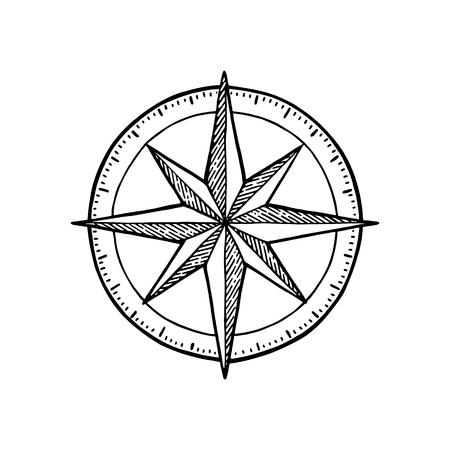 Rose des vents isolé sur fond blanc. Illustration de gravure vintage de vecteur. Pour le club de yacht d'affiche.