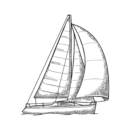 Sailing ship with wave isolated on white background. Vector vintage black engraving illustration. Hand drawn in a graphic style. For yacht club. Фото со стока - 73679645