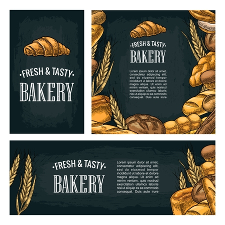 Set horizontal, vertical and square and posters with bread. Isolated on the dark background. Vector color hand drawn vintage engraving illustration for label, flyers and menu bakery shop.