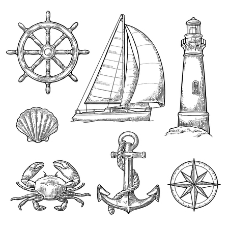 Set sea adventure. Anchor, wheel, sailing ship, compass rose, shell, crab, lighthouse isolated on white background. Vector vintage engraving illustration. For poster yacht club.