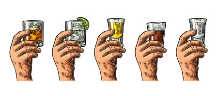 Male hand holding glasses with tequila, vodka, rum, gin, whiskey. Illustration