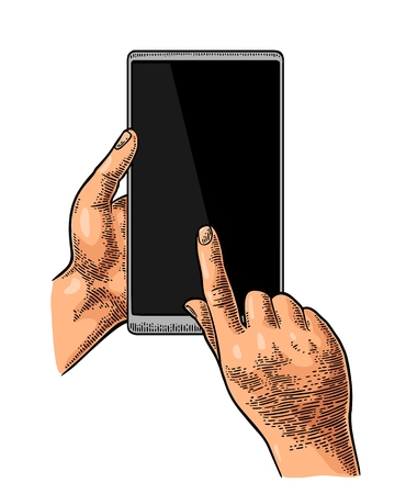 Hands holding and touching a modern mobile phone.