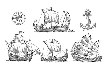 Trireme, carabela, drakkar, basura. Conjunto de veleros flotando las olas del mar. Foto de archivo - 73888524