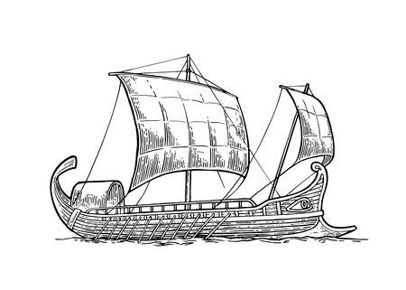 Trireme drijft op de zee golven. intage vector gravure illustratie