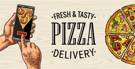 Vertical banner hands touching a mobile phone for order pizza