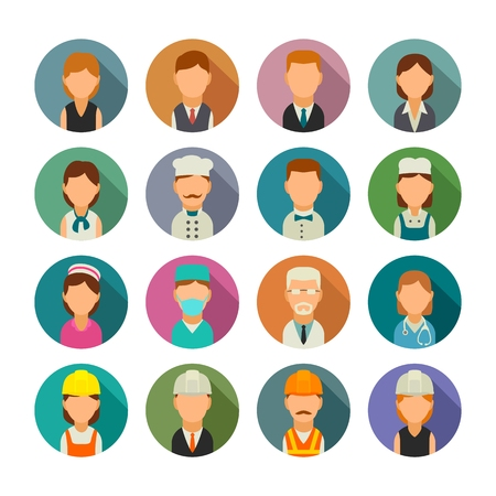 Set simple icon character cook, builder, business and medical people. Vector flat illustration with shadow on color circle Ilustrace