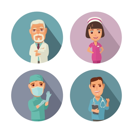 Male, female doctor character set icon Illustration