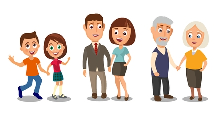 Set generations couples holding hands. Different ages from child to old people. Color flar vector illustration isolated on white background Stock Illustratie