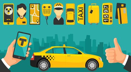 traffic controller: Mobile app for booking taxi service. Phone and set icon Illustration