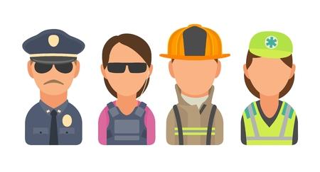 Set icon character people. Police, bodyguard, fireman, paramedic. Illustration