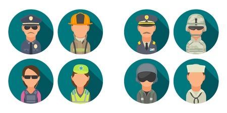 Icon people - soldier, officer, pilot, marine, sailor, police, bodyguard, fireman, paramedic. Illustration