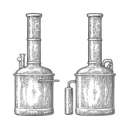 Row of tanks in brewery factory beer. Illustration