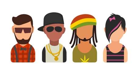 subcultures: Set icon different subcultures people. Hipster, raper, emo, rastafarian.