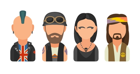 subcultures: Set icon different subcultures people. Punk, biker, goth, hippy Illustration
