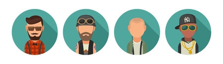 subcultures: Set icon different subcultures people. Hipster, biker, skinhead, raper.