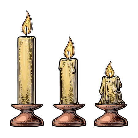Process of candle burning.