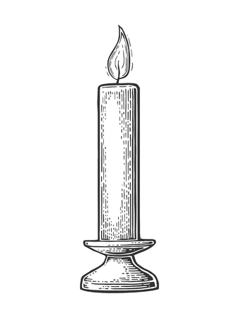 Burning candle with holder and fire flame.