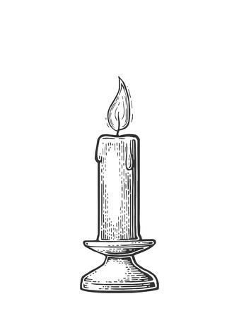 Bougie allumée avec support et feu feu Banque d'images - 75166816