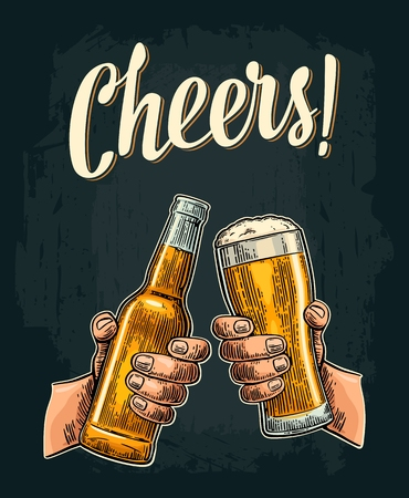 Male hands holding and clinking open beer bottles and glass. Illustration