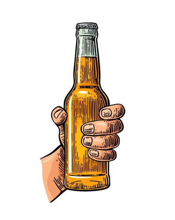Female hand holding open bottle beer. Color vintage engraving vector illustration