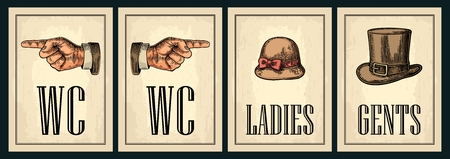 Toilet retro vintage grunge poster. Ladies, Cents, Pointing finger. Illustration