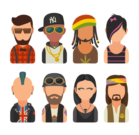 Set icon different subcultures people. Hipster, raper, emo, rastafarian, punk, biker, goth, hippy