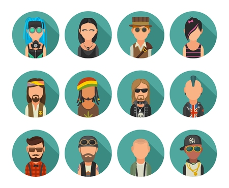 Set icon different subcultures people. Hipster, raper, emo, rastafarian, punk, biker, goth, hippy, metalhead, steampunk, skinhead, cybergoth. Illustration