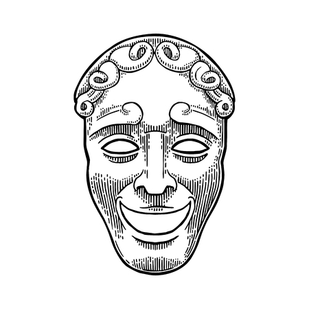 stage costume: Comedy theater mask. Vector engraving vintage black illustration.